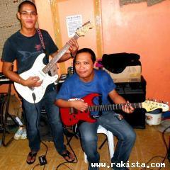 with bandmates
